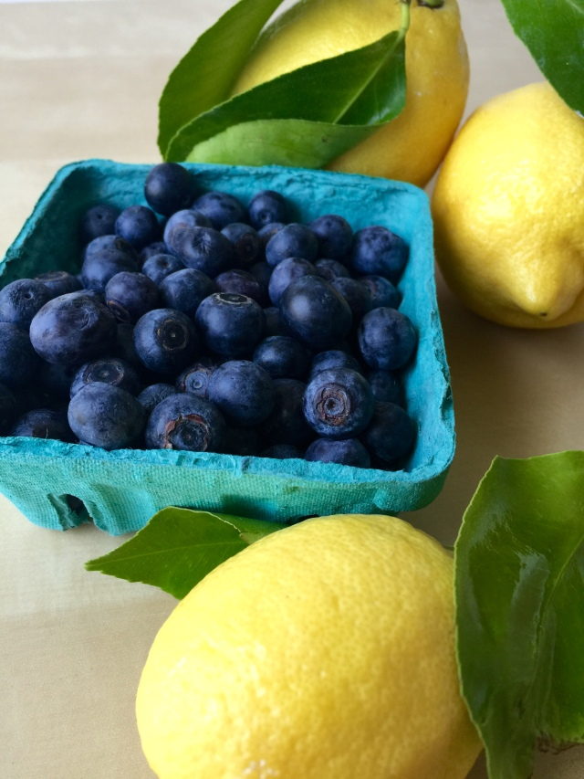 Farmer's market fresh lemons and blueberries